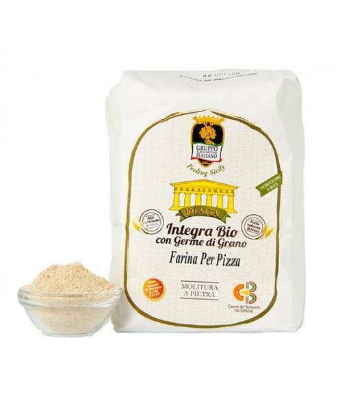 Farina PER PIZZA integra Bio con germe di grano (grano varietà antiche - semi-integra) - Dìaita